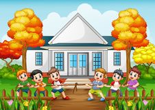Group of children playing tug of war in front house. Illustration of Group of children playing tug of war in front house Royalty Free Stock Images