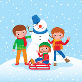 Group of Children playing in the winter outdoors Stock Photo