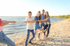 Group of children pulling rope during tug of war. Game on beach. Summer camp Stock Images