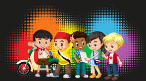 Group of children with rainbow background Royalty Free Stock Images