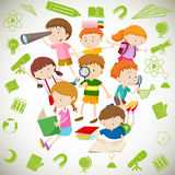 Group of children reading and learning Royalty Free Stock Images