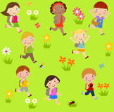 Group of children running with bag. Illustration of group of children Royalty Free Stock Photo