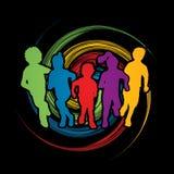 Group of Children running royalty free illustration