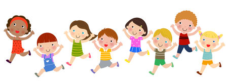 Group of children running Stock Photo