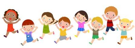 Group of children running Stock Photo