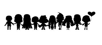 Group of children's silhouettes Stock Photos