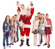 Group of children with Santa Claus. Isolated Royalty Free Stock Photography