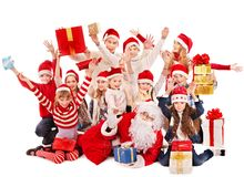 Group of children with Santa Claus. Isolated Stock Images