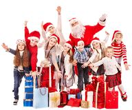 Group of children with Santa Claus. Isolated Stock Photo