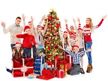 Group of children with Santa Claus. Group of children with Santa Claus and Christmas tree.  Isolated Royalty Free Stock Photo
