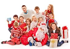 Group of children with Santa Claus. Isolated royalty free stock photos