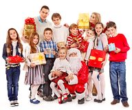 Group of children with Santa Claus. Isolated Royalty Free Stock Images