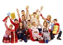 Group of children with Santa Claus. Stock Photo