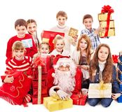 Group of children with Santa Claus. Isolated Royalty Free Stock Image