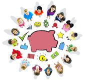Group of Children and Saving Concept.  Stock Photo