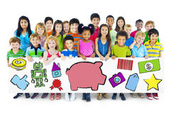 Group of Children with Saving Concept Royalty Free Stock Images