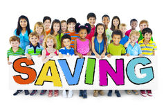 Group of Children and Saving Concepts Royalty Free Stock Images
