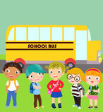 Group of children and school bus Royalty Free Stock Photo