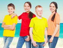 Group children at sea Stock Photography