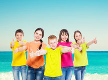 Group children at sea Royalty Free Stock Image