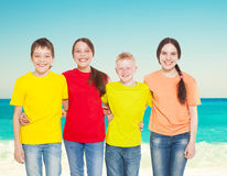 Group children at sea Royalty Free Stock Photo