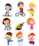 Group of children set Stock Images