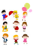 Group of children sets Stock Images