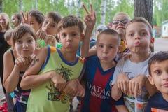 Funny kids grimace Stock Photo