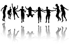 Group of children silhouette jumping Stock Images