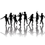 Group of children silhouettes dancing Royalty Free Stock Image