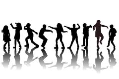 Group of children silhouettes dancing. On white background Stock Images