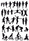 Group of children silhouettes Royalty Free Stock Image