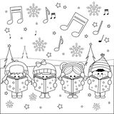 Group of children singing Christmas carols vector illustration