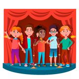 Group Of Children Singing Into The Microphone On Stage Vector. Isolated Illustration royalty free illustration