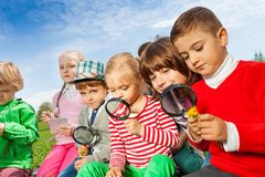 Group of children sitting in field with magnifier Royalty Free Stock Photos