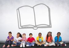 Group of children sitting in front of book graphic Royalty Free Stock Photos