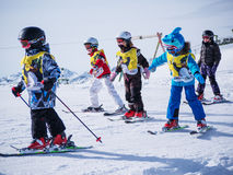 Group of children are skiing. Ski resort in Austria, Zams on 22 Feb 2015 Royalty Free Stock Photography