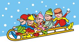 Group of children and sleigh. Smile face. Humorous illustration. In background is sky with snowflakes Stock Photo