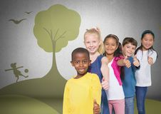 Group of children standing in front of playful nature park graphics Stock Image