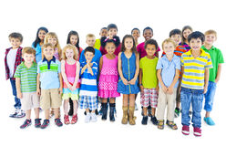 Group of Children Standing in Line Stock Photo
