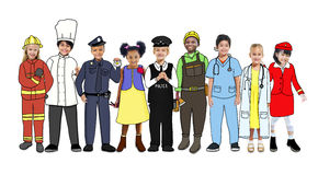 Group of Children Standing with Variation Uniform Royalty Free Stock Photography