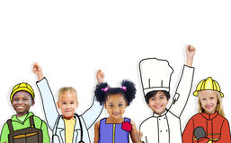 Group of Children Standing in a Variation Uniform Stock Image