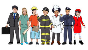 Group of Children Standing with Variation Uniform Stock Photo