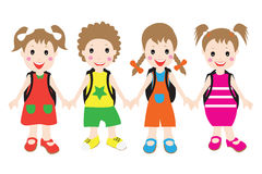 Group of children students.flat design. Stock Image
