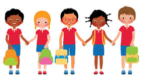 Group of children students in school uniforms Stock Photography