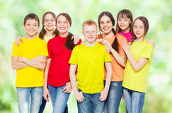Group children at summer Stock Images