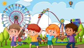 A group of children at theme park. Illustration royalty free illustration