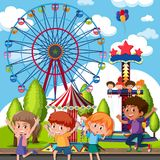 A group of children at theme park. Illustration stock illustration