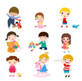 Group of children and toys Royalty Free Stock Photos