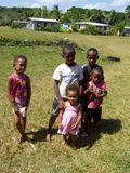 Group of children in traditional Fijian village Royalty Free Stock Photography